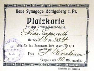 Platzkarte Königsberg 1896
