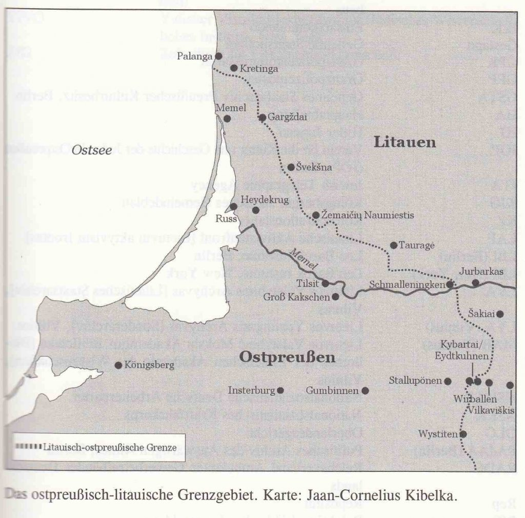 Map Lithuanian East Prussian Border