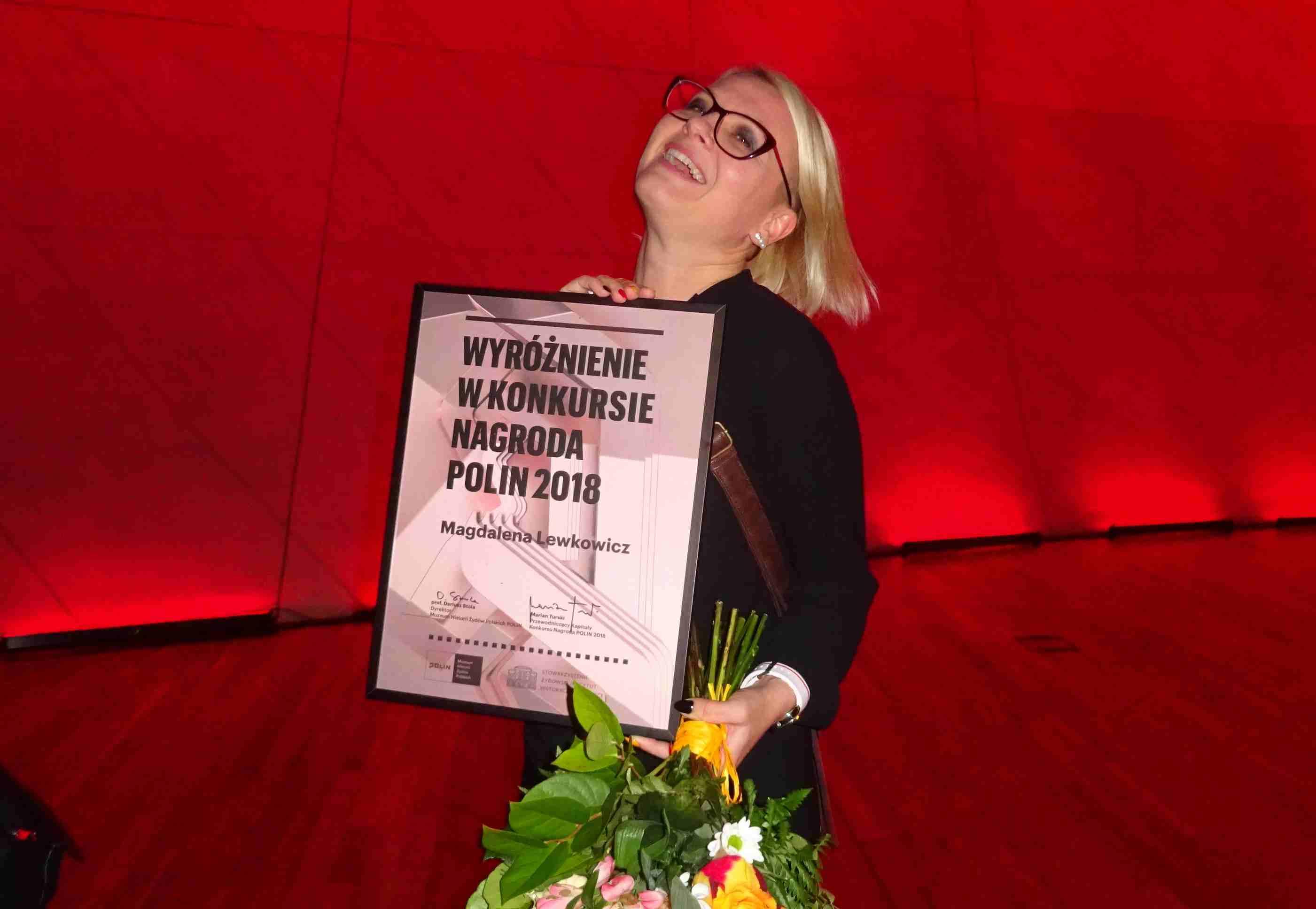 Magdalena Lewkowicz from Mrągowo awarded the POLIN 2018 Prize