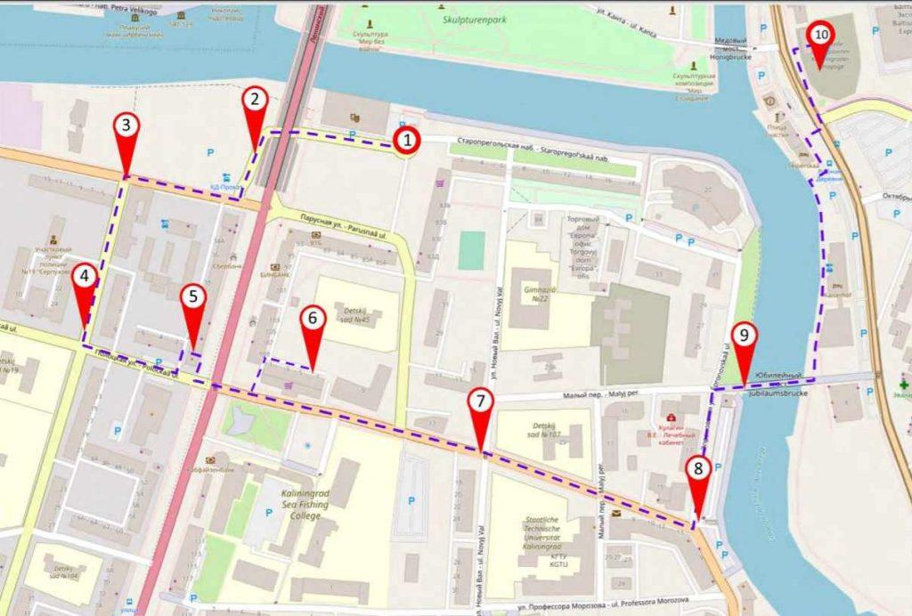 Landkarte Tour Jüdisches Königsberg
