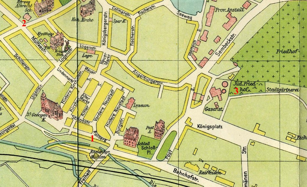 Map Rastenburg Jewish 1929
