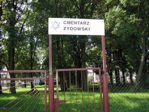 Sign entrance Jewish Cemetery Soldau
