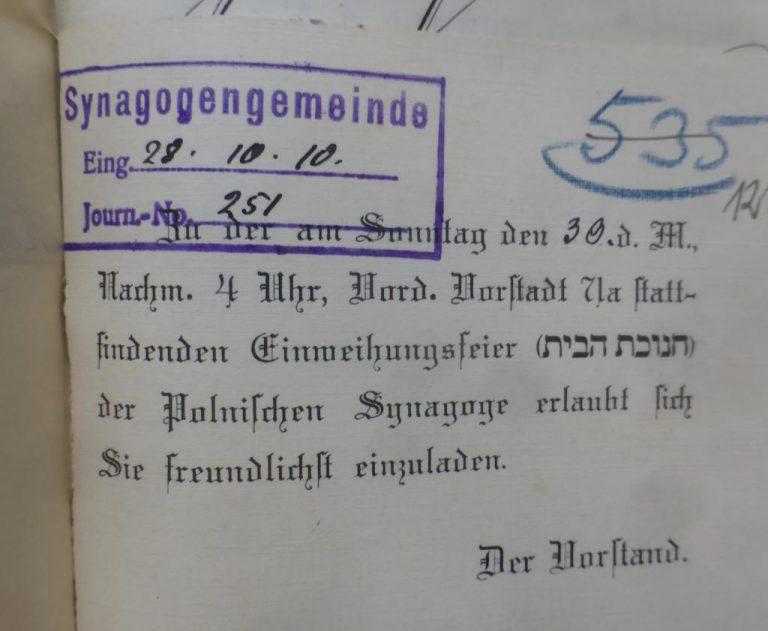 Opening of Polish Shul in Königsberg