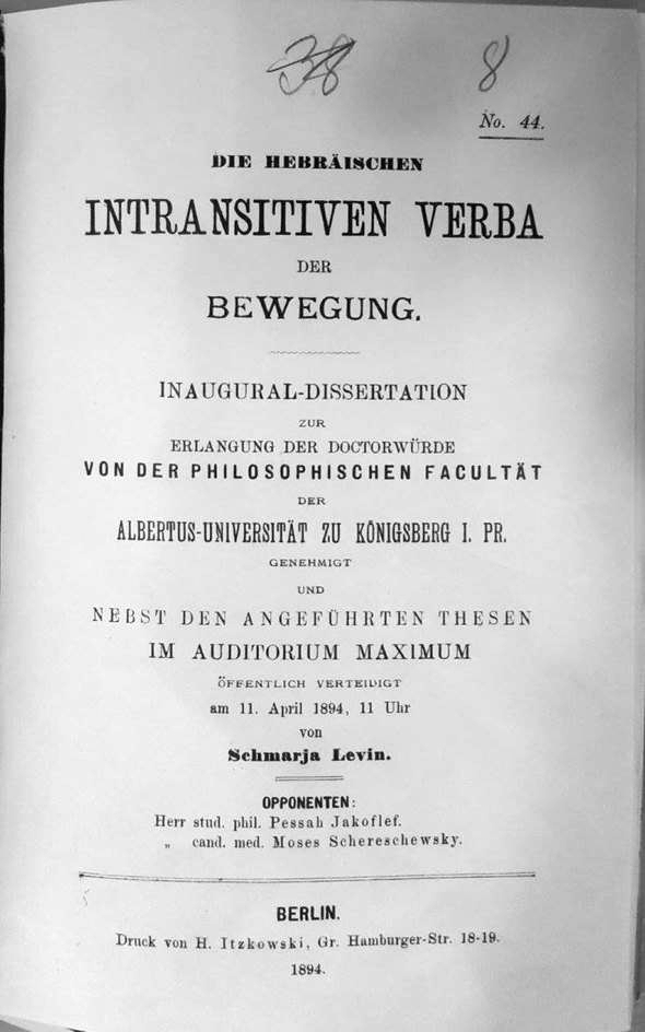 Dissertation Shemarjahu Levin