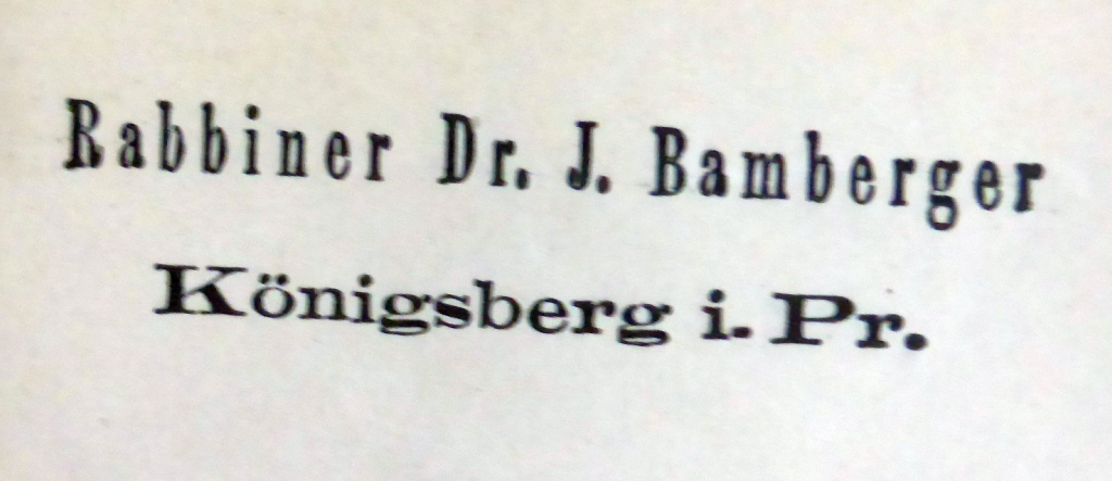 Briefkopf Rabbi Bamberger
