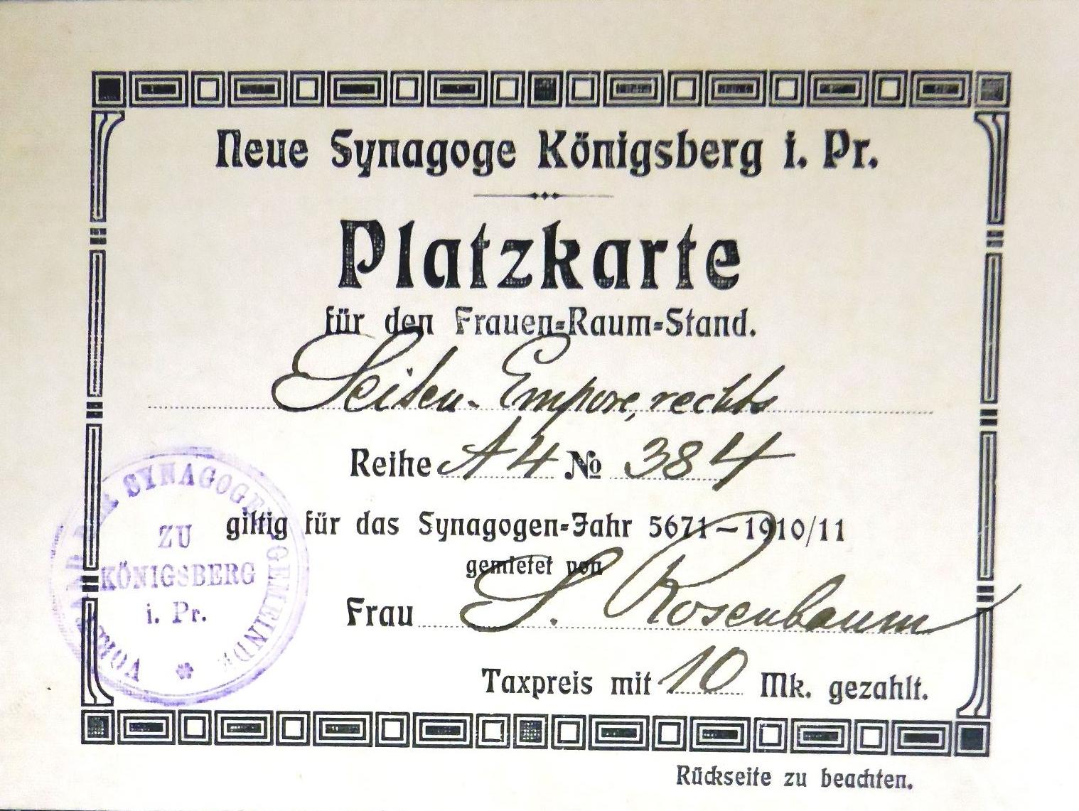 Paltzkare Königsberg 1910